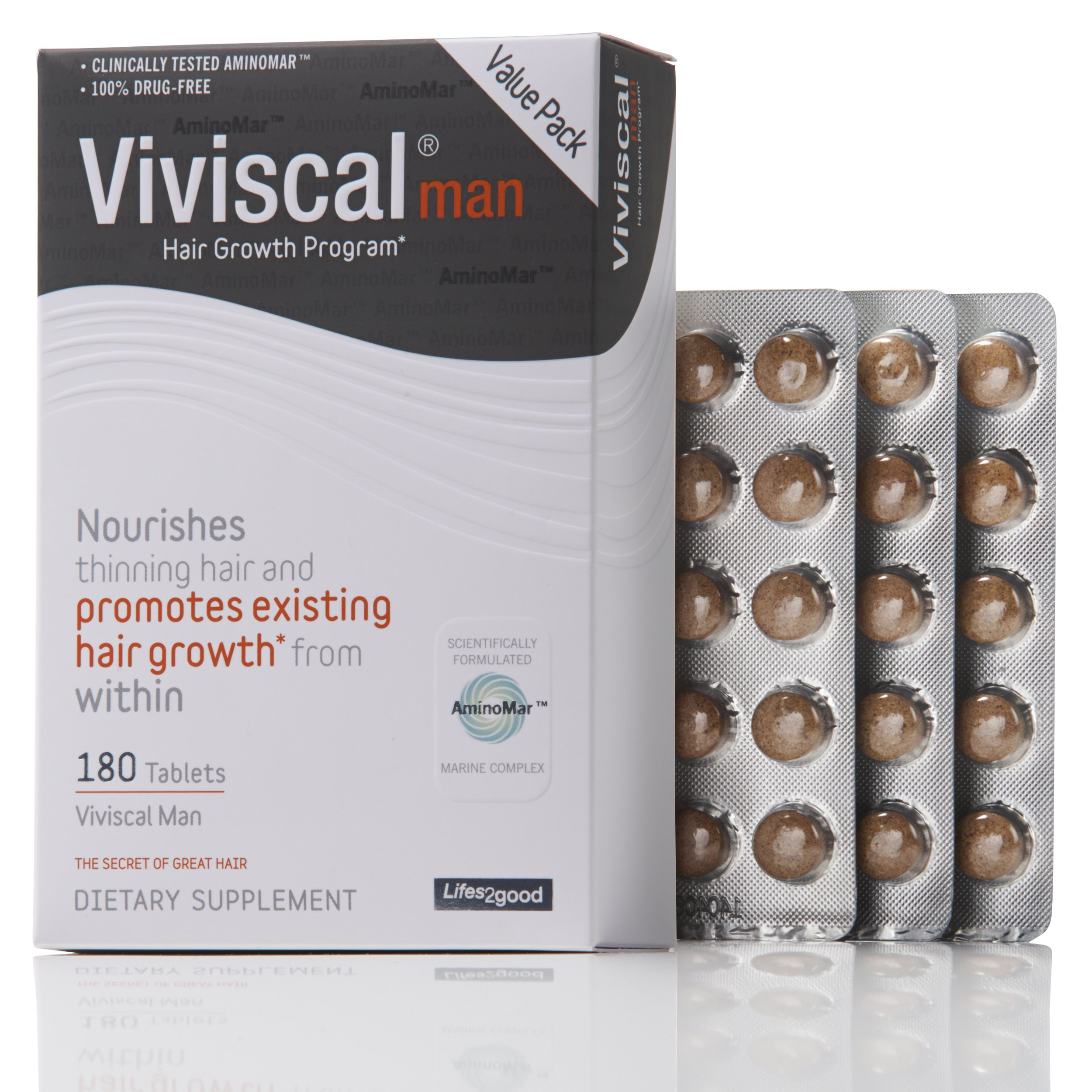 Viviscal Man #1 Hair Product For Hair Growth & Hair Thinning, 100% Drug Free Hair Supplement, 90 Day Gaurantee, 180-tabs