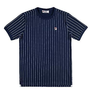 7ac7a4fc4b Fila Black Line Man T-Shirt Blue With White Stripes Baseball Style With  Logo 684366PEAC: Amazon.co.uk: Clothing