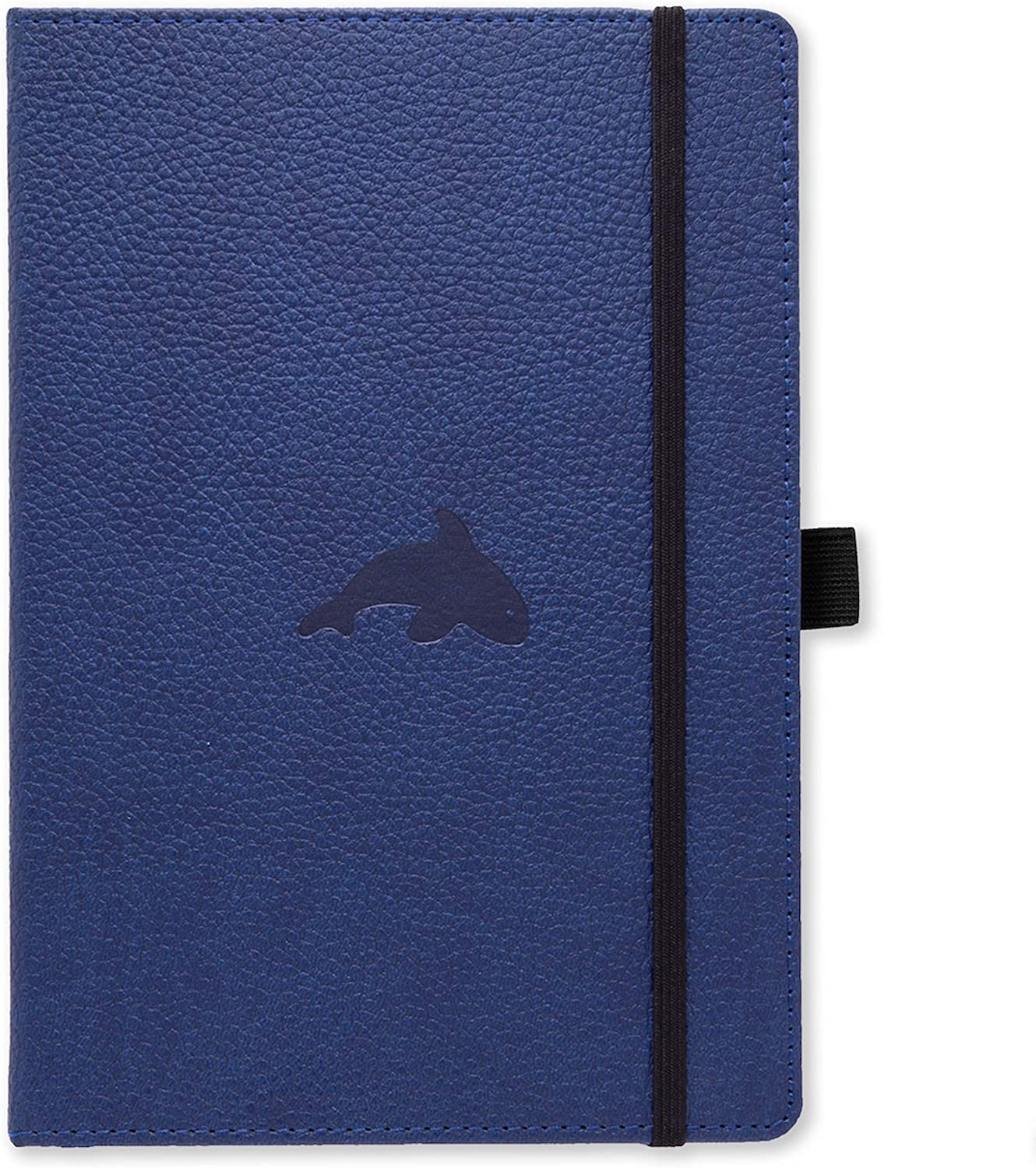 Dingbats Wildlife Squared XL A4+ Hardcover Notebook Perforated 100gsm Ink-Proof Paper Elastic Closure Pen Holder Blue Whale Pocket Bookmark PU Leather