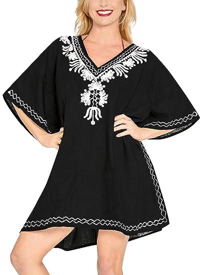d9b123b17e LA LEELA Rayon Solid Spring Summer Cover Up OSFM 10-16  M-1X  Black 6476 at Amazon  Women s Clothing store