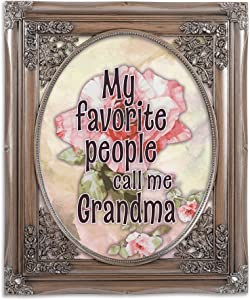 Cottage Garden Grandma Favorite Brushed Silver Floral Cutout 8 x 10 Table Top and Wall Photo Frame