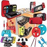 Orzly Accessories Bundle Kompatibel med Nintendo Switch - Geek Pack: Case & Screen Protector, Joycon Grips & Racing…