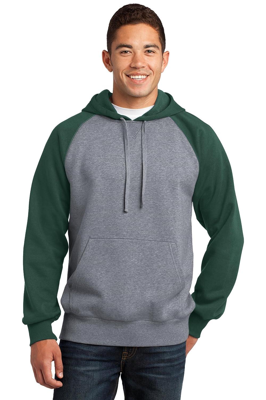 Sport-Tek Raglan Pullover Hooded Sweatshirt Forest Green//Vintage Heather
