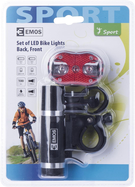 4/x 15/x 21/cm Black para 3/+ 2/x AAA Emos P3920 trasera 1/+ 3/x LED Chip bicicleta luz delantera Aluminio