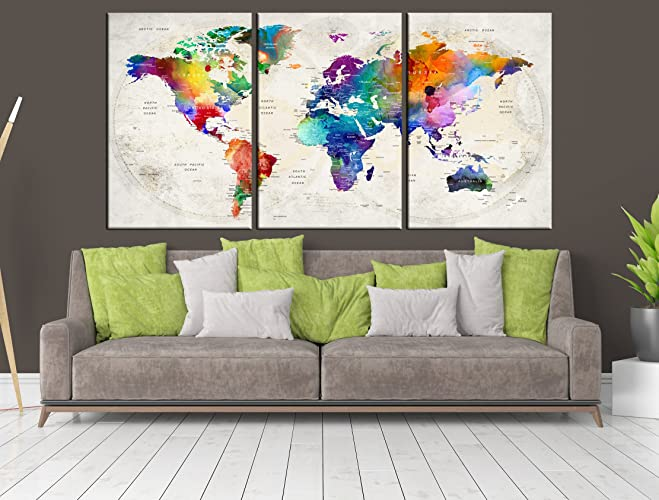 Amazon.com: 3 Panel World Map Canvas Print, World Map for ...