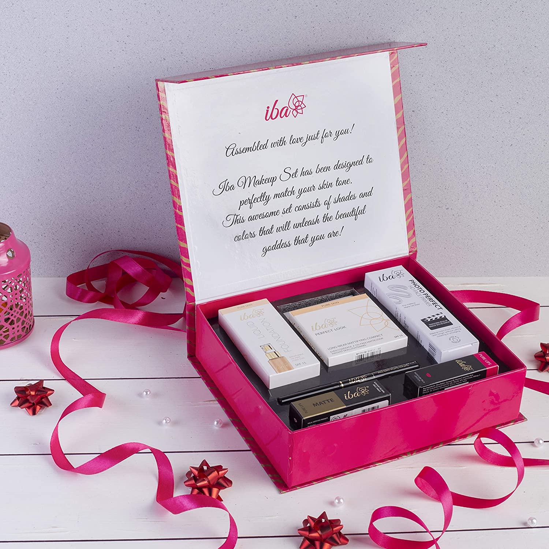 Iba Halal Care Makeup Gift Set (Medium) - Foundation, Compact, Primer, Lipsticks, Kajal