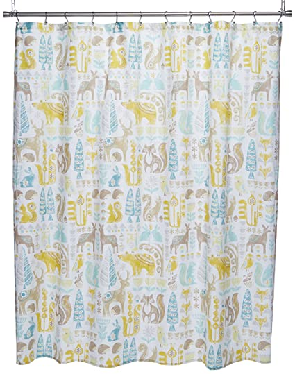 Amazon INK IVY Kids Woodland Cotton Shower Curtain 72x72 Aqua