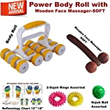 Super India Store Acu Therapy Power Body Roll for Total Body Massage & Pain Relief + Health Products + Wooden Face Massager-SOFT