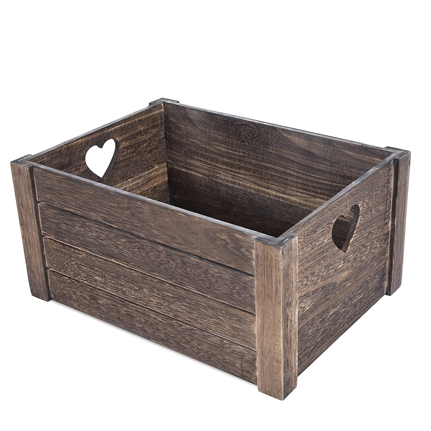 Brown Heart Shaped Cut Wooden Crates Display Plants Fruits Storage Gift Hamper (3, Large) Basic House