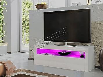 Moderno mueble base para TV FoxHunter, de alto brillo, color blanco mate. Mueble para el hogar iluminado con luz LED RGB TVC08, de 155 cm: Amazon.es: Electrónica