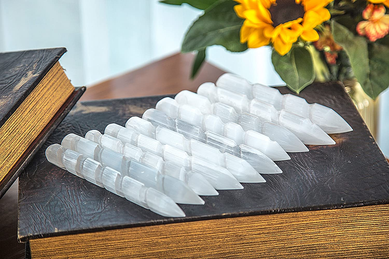 Selenite Stone Massage Wand Spiritual Balancing Reiki Healing Energy Generator