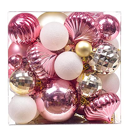 Home Furniture Diy Christmas Tree Ornaments 9pcs 60mm Rose Gold