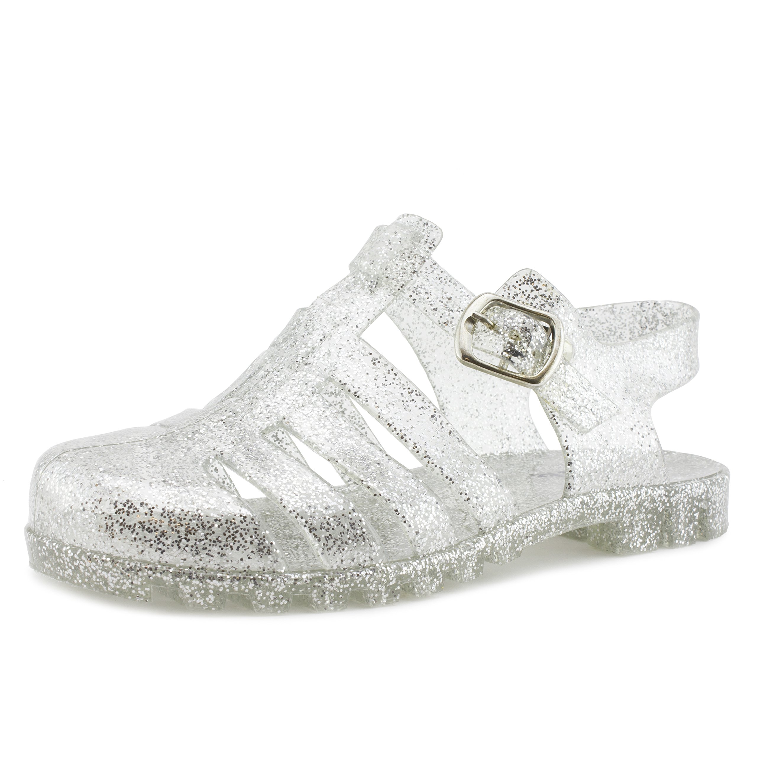 Link Girls Retro Jelly Buckle Closure Gladiator Sandals Clear III 12 M US Little Kid