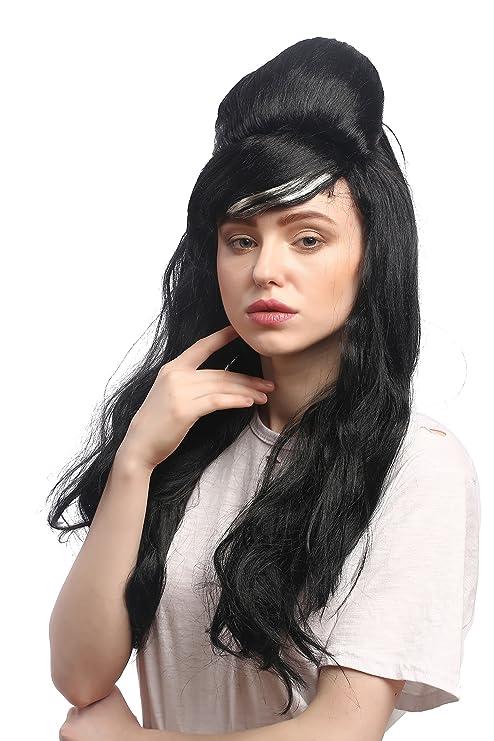 WIG ME UP ® - 91013-ZA103 ZA615 Peluca Carnaval señoras Negro Largo Liso Peinado Colmena updo Carmen España 60: Amazon.es: Juguetes y juegos