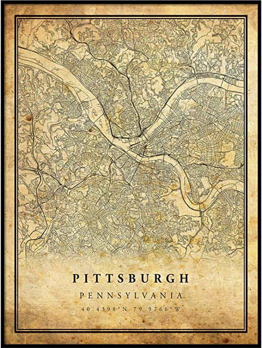 Amazon Com Pittsburgh Map Vintage Style Poster Print Old City Artwork Prints Antique Style Home Decor Pennsylvania Wall Art Gift High Res Old Map 24x36 Posters Prints