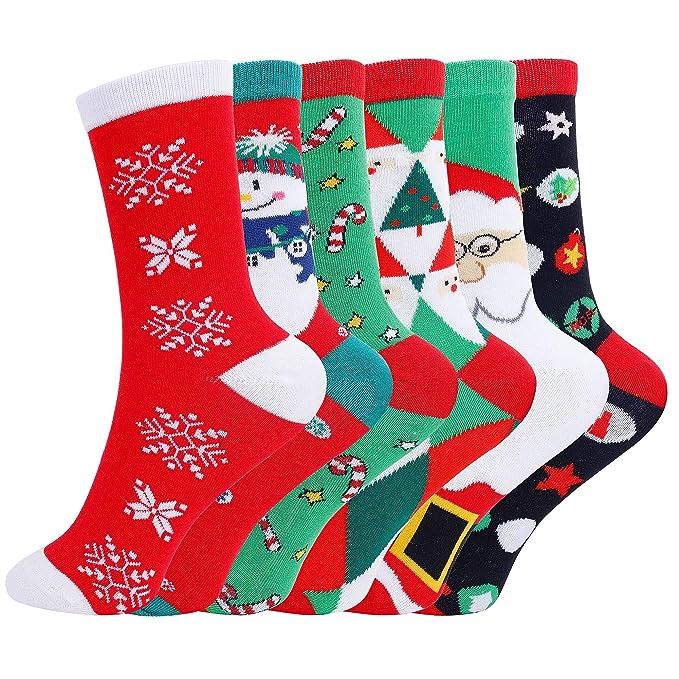 Calcetines de Navidad 6 Pares Unisex Dibujos Animados Calcetines de algodon para Niño Niña: Amazon.es: Ropa y accesorios