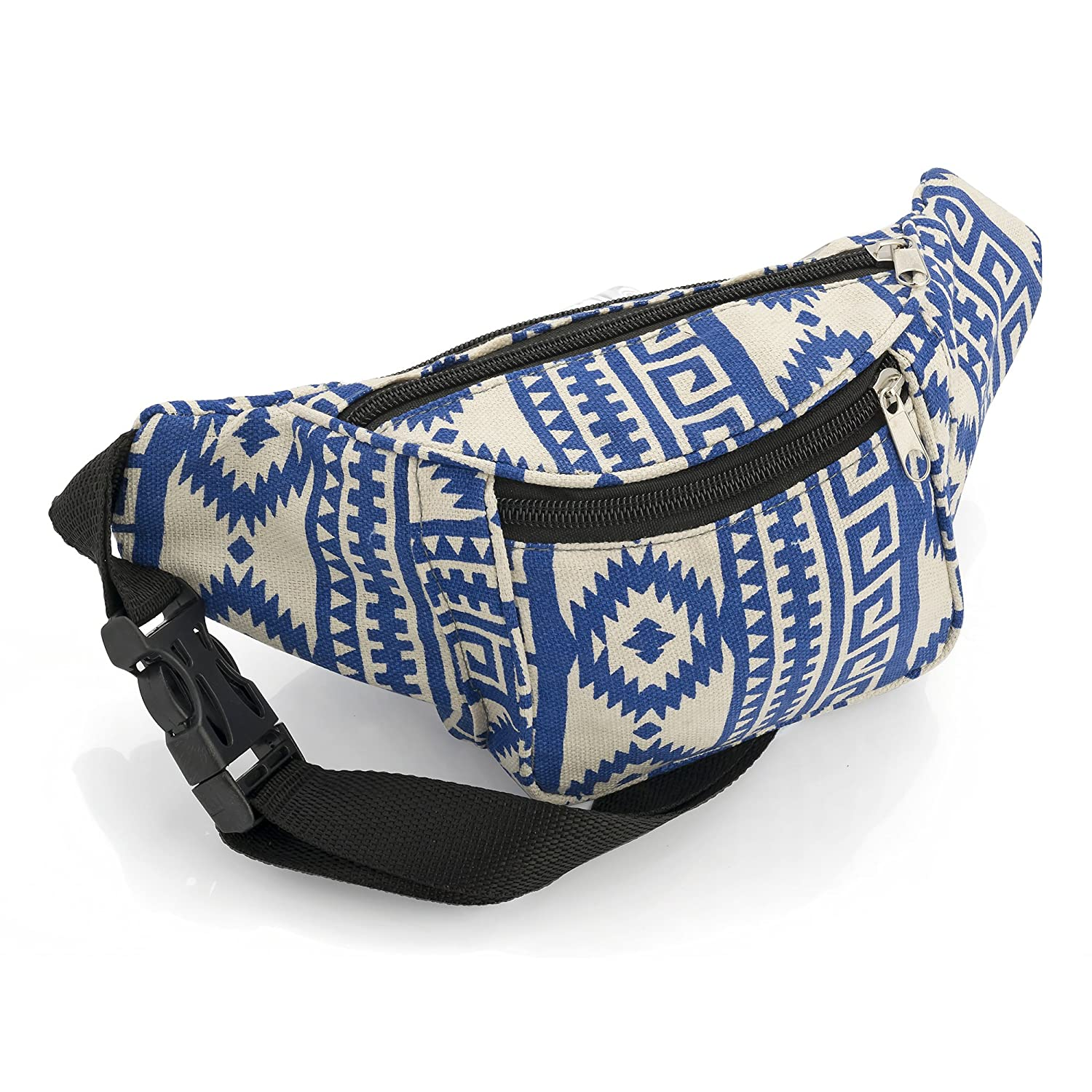 Blue and Beige Abstract Design Bum Bag Fanny Pack Festivals Holiday Wear BG30173