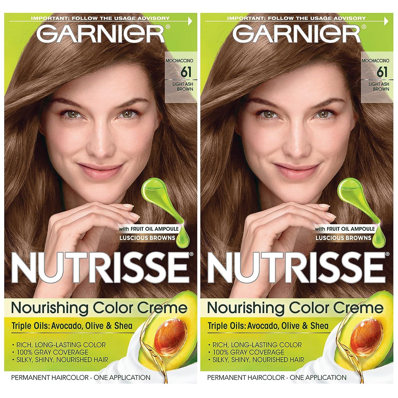 Garnier Hair Color Nutrisse Nourishing Creme, 61 Light Ash Brown (Mochaccino), 2 Count