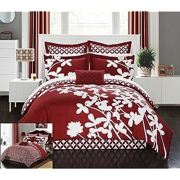 Amazon Com 12 Pieces Marisol Red Black White Comforter