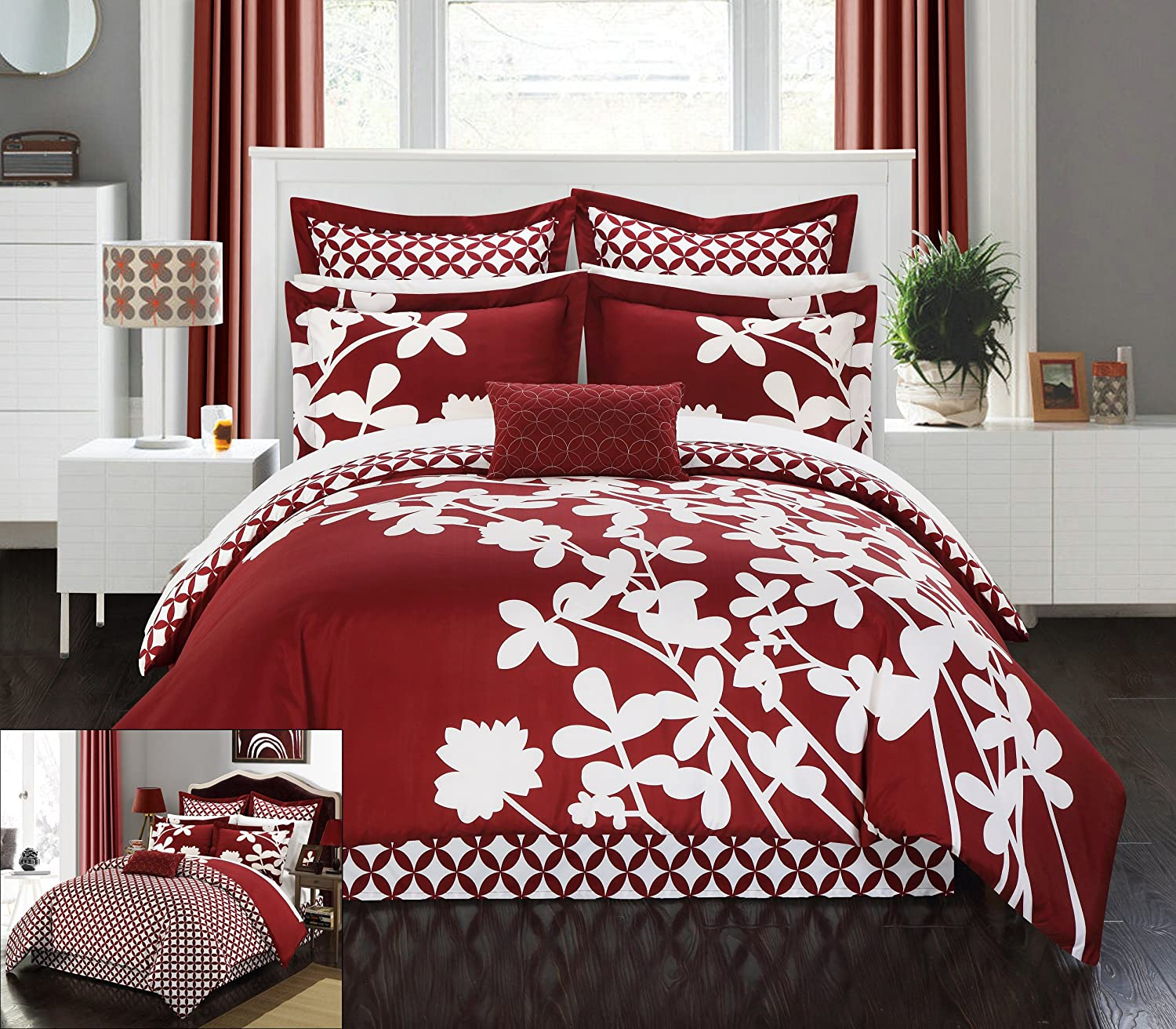 Floral Design Printed With Diamond Pattern Reverse Comforter Set, King, Red