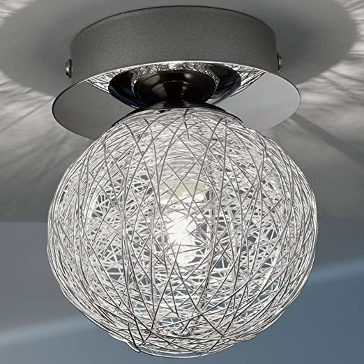Twp Wire Mesh | Mia Light Clear Glass And Aluminium Spherical With Wire Mesh Ceiling