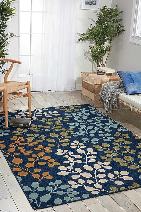 Amazon Com Nourison Caribbean Indoor Outdoor Area Rug 5 3 X 7 5 Navy Furniture Decor