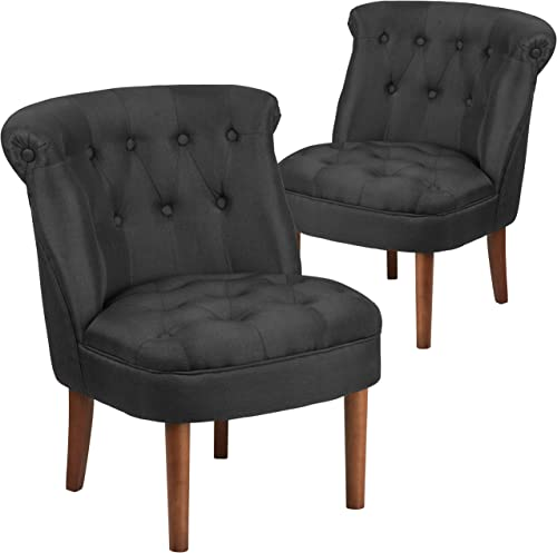 Flash Furniture 2 Pk. HERCULES Kenley Series Black Fabric Tufted Chair