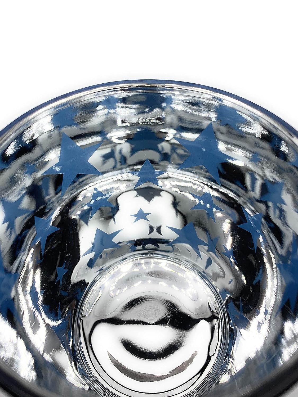 Verre gro/ß Marla /«photophore verre peint motif petites /étoiles bleu///étoiles-photophore-kerzenglas H/öhe 12cm Durchmesser 10cm