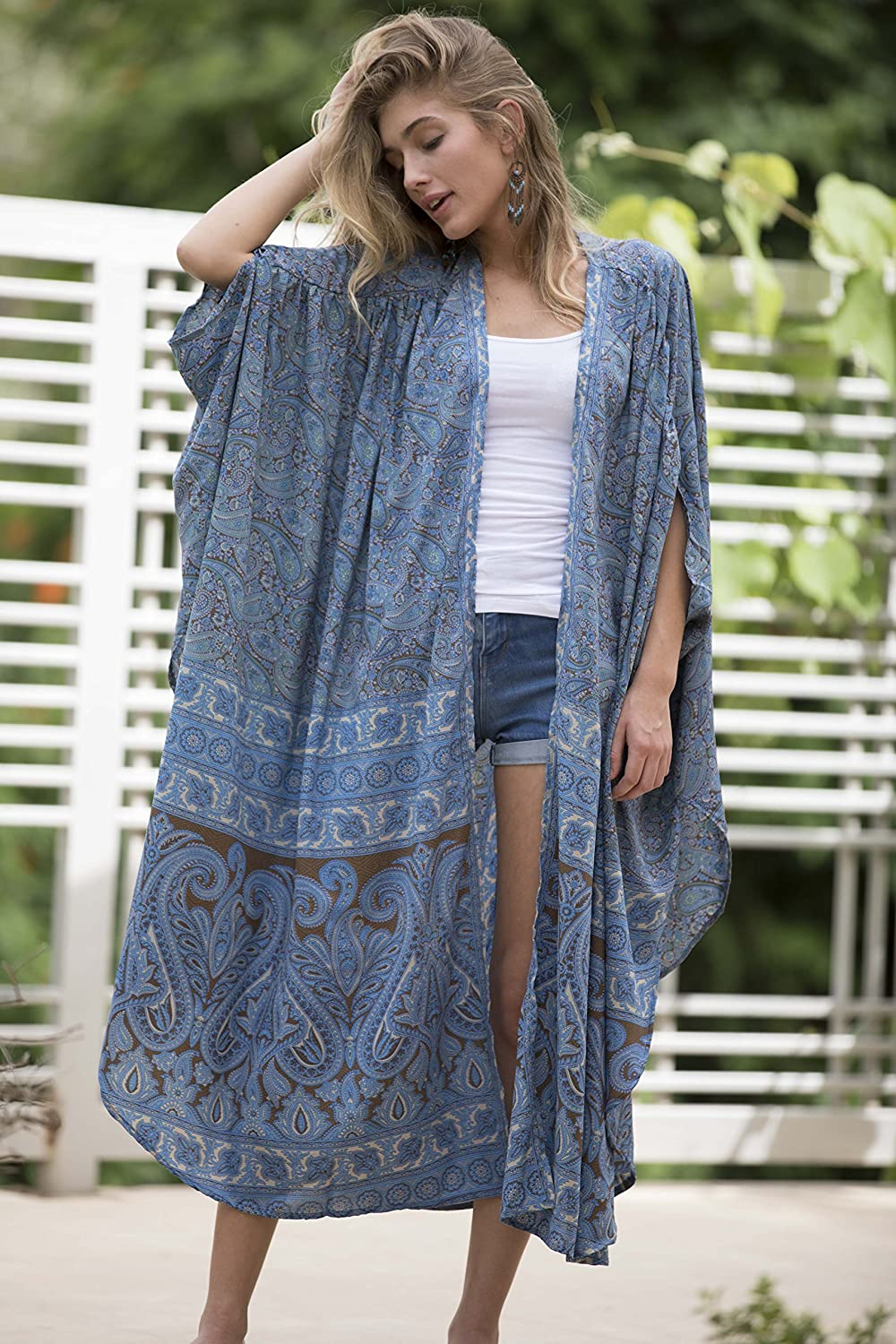 31f95983a7e Amazon.com  Dusty Blue Plus Size Kimono