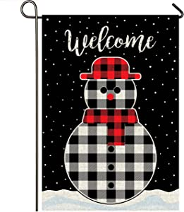 Mogarden Winter Christmas Snowman Garden Flag, Double Sided Printed, 12.5 x 18 Inches, Buffalo Check Plaid Burlap Small Welcome Holiday Yard Flag