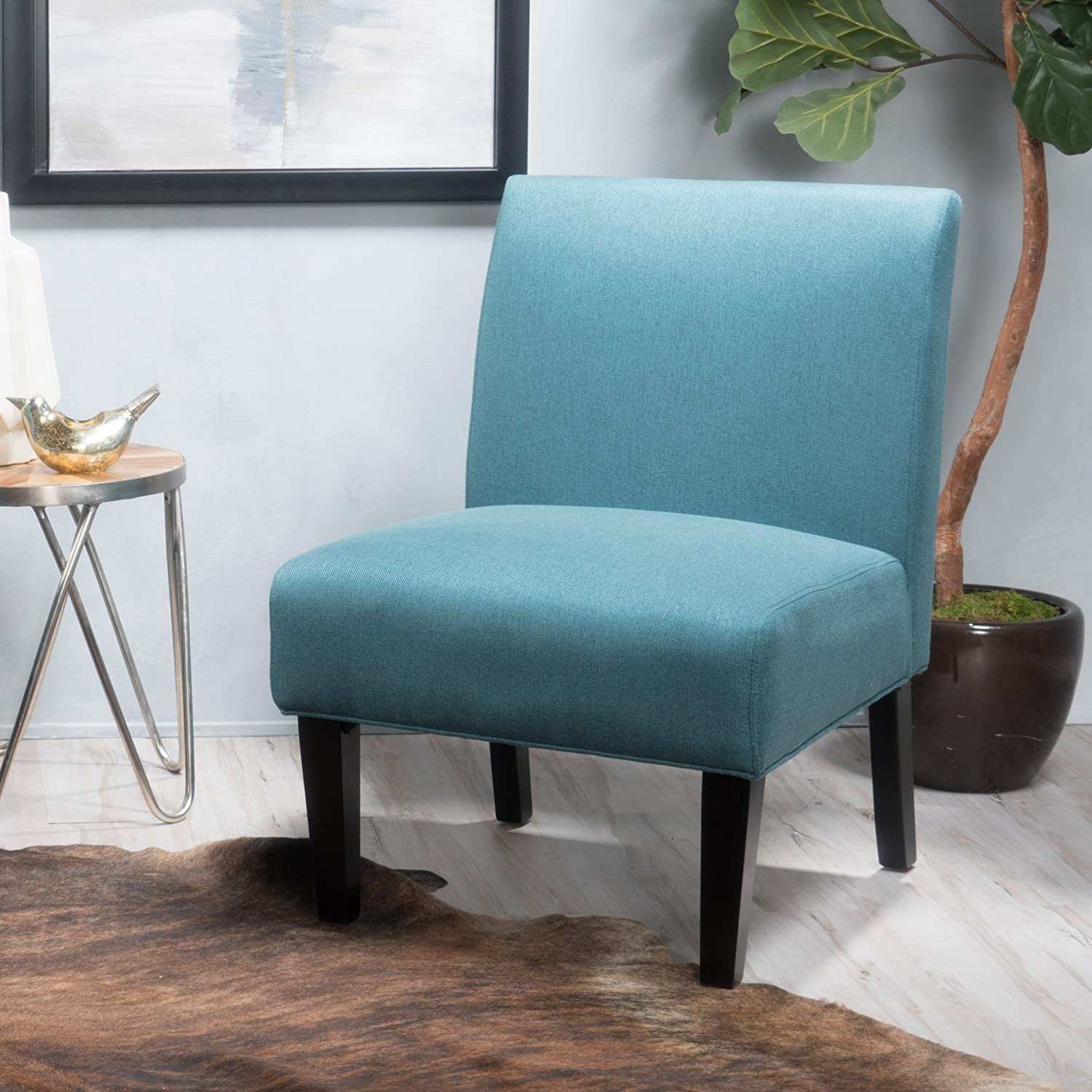"Christopher Knight Home Kendal Dark Teal Fabric Accent Chair, 29. 50""D x 22. 50""W x 32. 00""H"