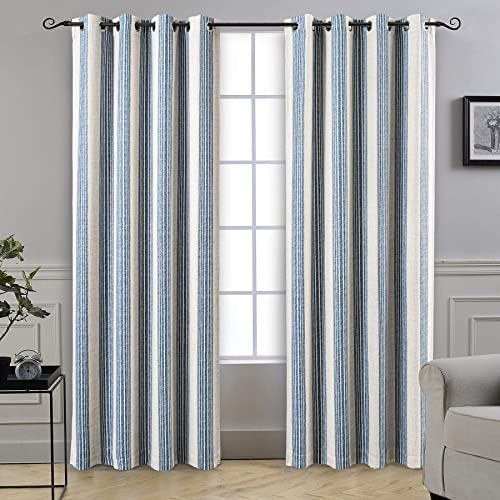DriftAway Chris Vertical Striped Pattern Linen Blend Lined Thermal Insulated Blackout and Room Darkening Grommet Window Curtains