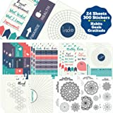 Improve Yourself Planner Stickers Set - Large Value Pack 24 Sheets Self-Improvement Sticker Pack - Goal Setting, Habit Tracke