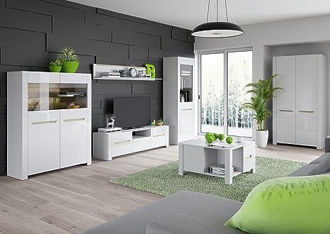 Wohnwand Wohnzimmer Set ICE Weiß Hochglanz Vitrine ...