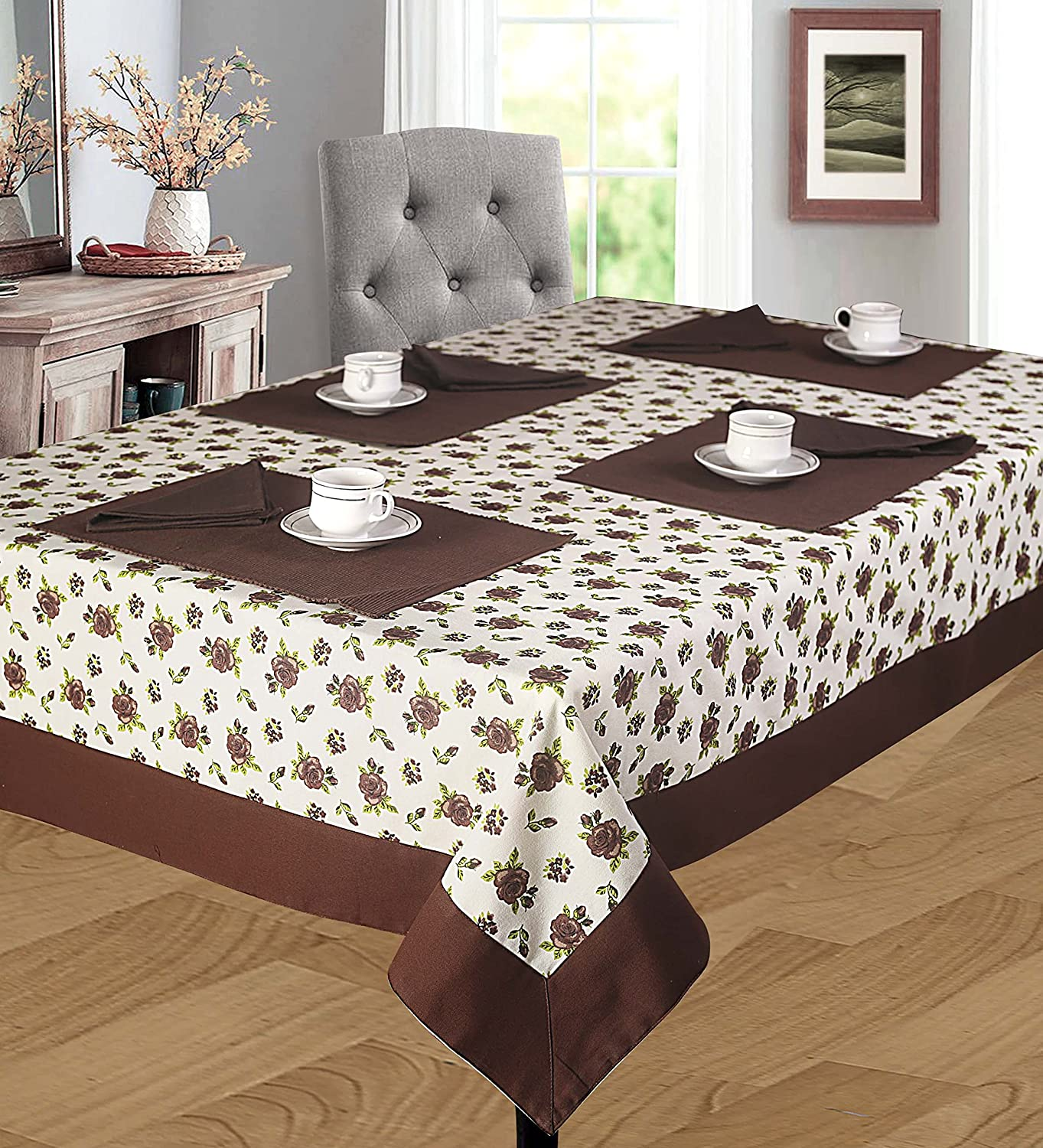 Cloth Fusion Cotton Center Table Cover 4 Seater - (40x60 Inch, Brown)