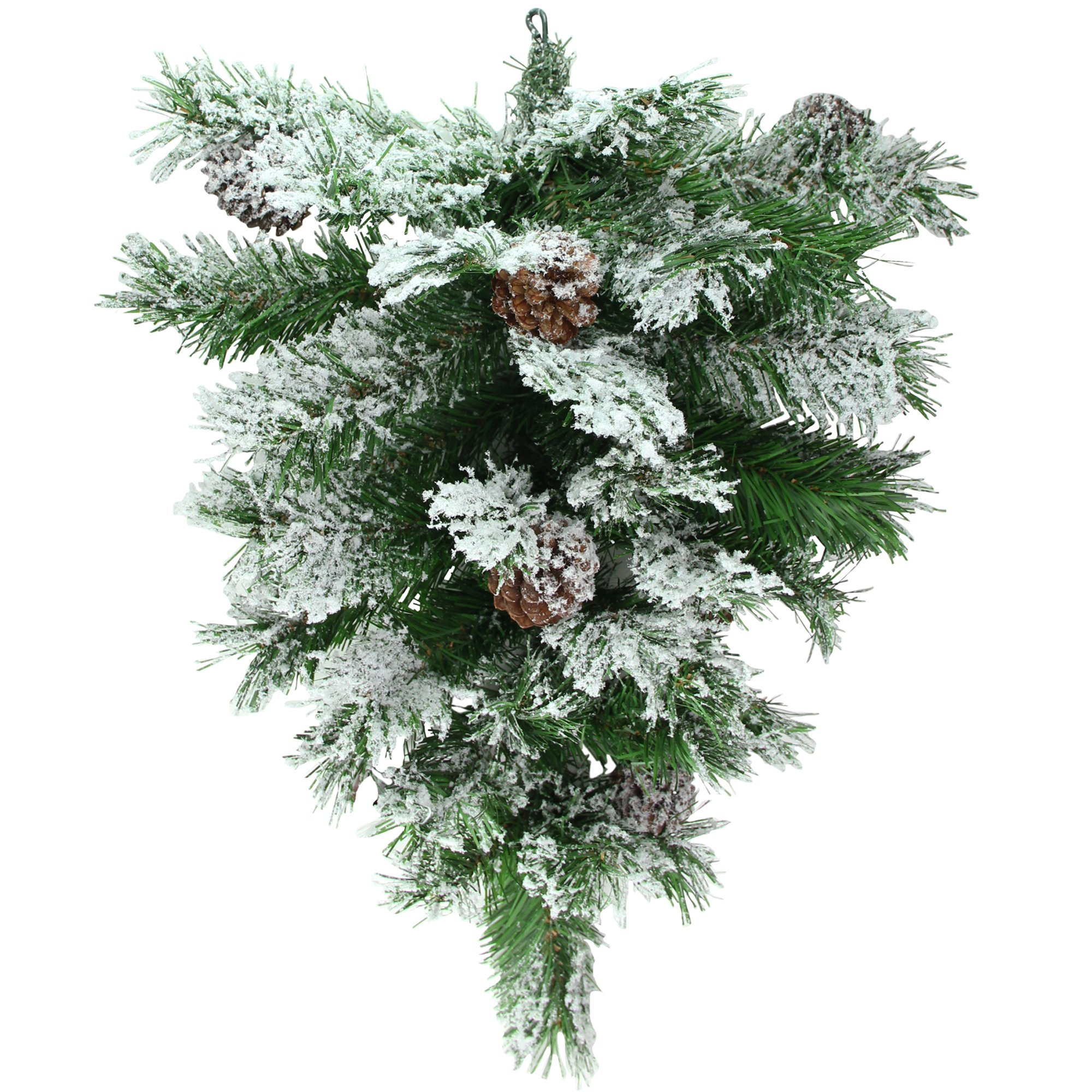 Northlight 22'' Snowy Flocked and Pinecones Christmas Teardrop Swag - Unlit by Northlight