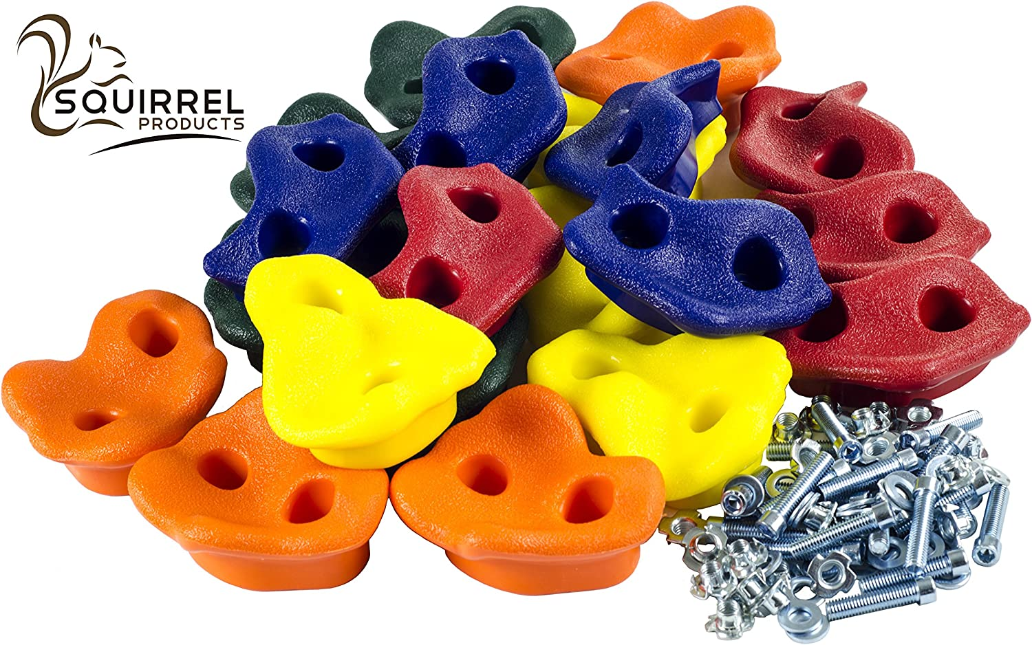 "Squirrel Products 20 Extra Large Deluxe Rock Climbing Holds - with Mounting Hardware for up to 1"" Installation - Outdoor Play Accessories - Ages 3 Years and Older: Toys & Games"