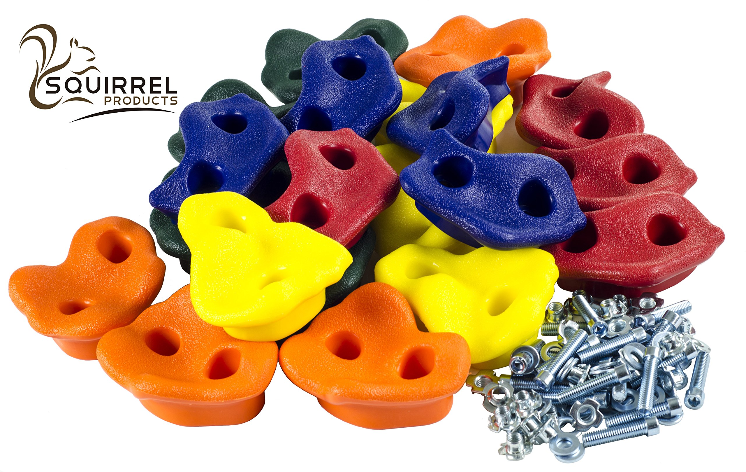 20 Deluxe Extra Large Assorted Rock Climbing Holds with Installation Hardware for up to 1'' Installation - Swing Set Accessories by Squirrel Products