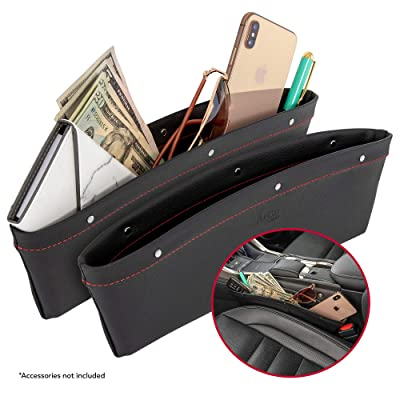 2 in 1 Car Seat Gap Organizer | Universal Fit | Storage Pockets Adjust | 2 Set Car Seat Crevice Storage Box | Helps Reduce Distracted Driving & Holds Phone Money Cards Keys Remote | Red Stitching: Automotive