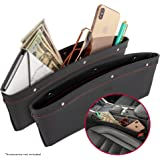 2 in 1 Car Seat Gap Organizer | Universal Fit | Storage Pockets Adjust | 2 Set Car Seat Crevice Storage Box | Helps Reduce Distracted Driving & Holds Phone Money Cards Keys Remote | Red Stitching