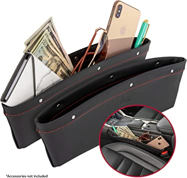1x Universal Car Seat Side Storage Organizer Interior Multi-Use Bag Pocket Black