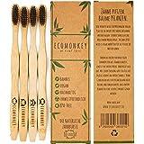 ECOMONKEY® ♻ Die nachhaltigen Bambus Zahnbürsten im 4er Set + 100% vegan + 100% BPA-frei + weiche Borsten