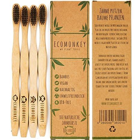 ECOMONKEY ♻ la SOSTENIBLES bambú Cepillos de Dientes en Juego de 4 + 100% Vegan
