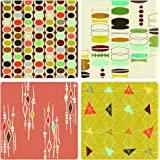 "CoasterStone AS9943 Absorbent Coasters, 4-1/4-Inch, ""Retro Modern"", Set of 4"