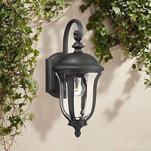 Park Sienna Traditional Outdoor Wall Light Fixture Black 16 3/4″ Clear Glass Downbridge
