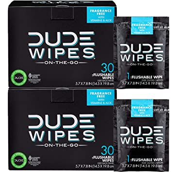 4f7041880631e DUDE Wipes Flushable Wet Wipes (2 Packs 30 Wipes) Individually Wrapped for  Travel