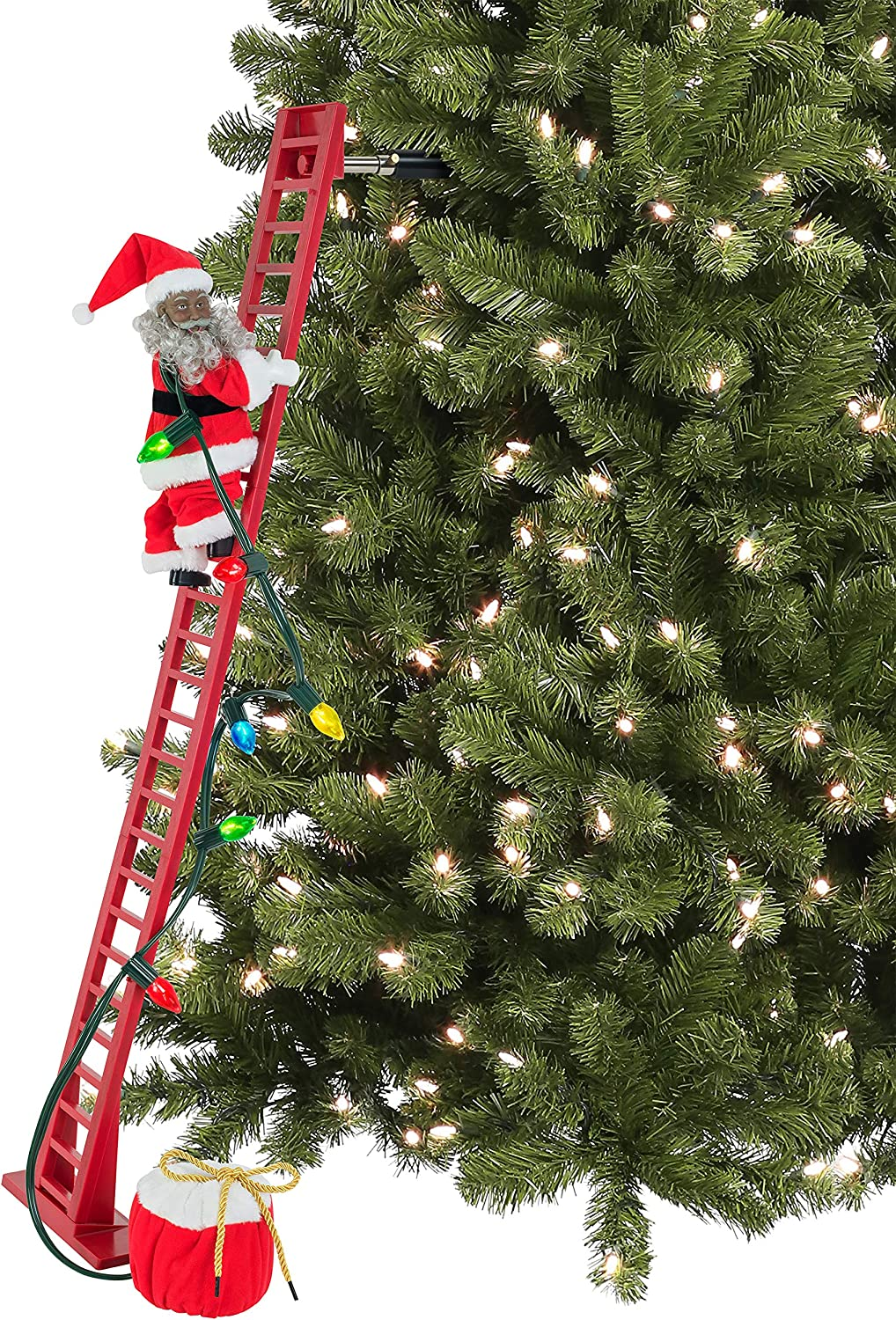 Mr. Christmas 37221 Super Climbing African American Santa Holiday Decoration, 40-inch, Red
