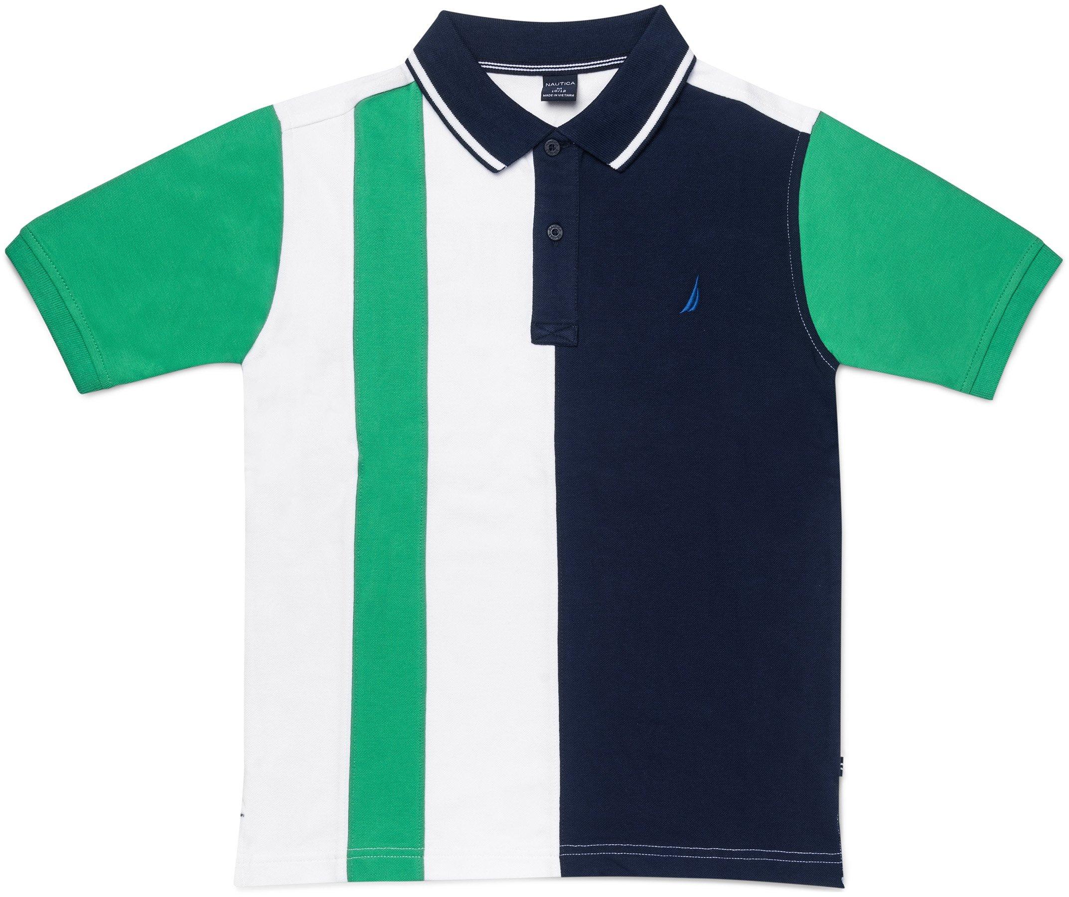 Nautica Boys' Short Sleeve Heritage Polo Shirt, Ballaster Bright Green, X-Large (18/20)