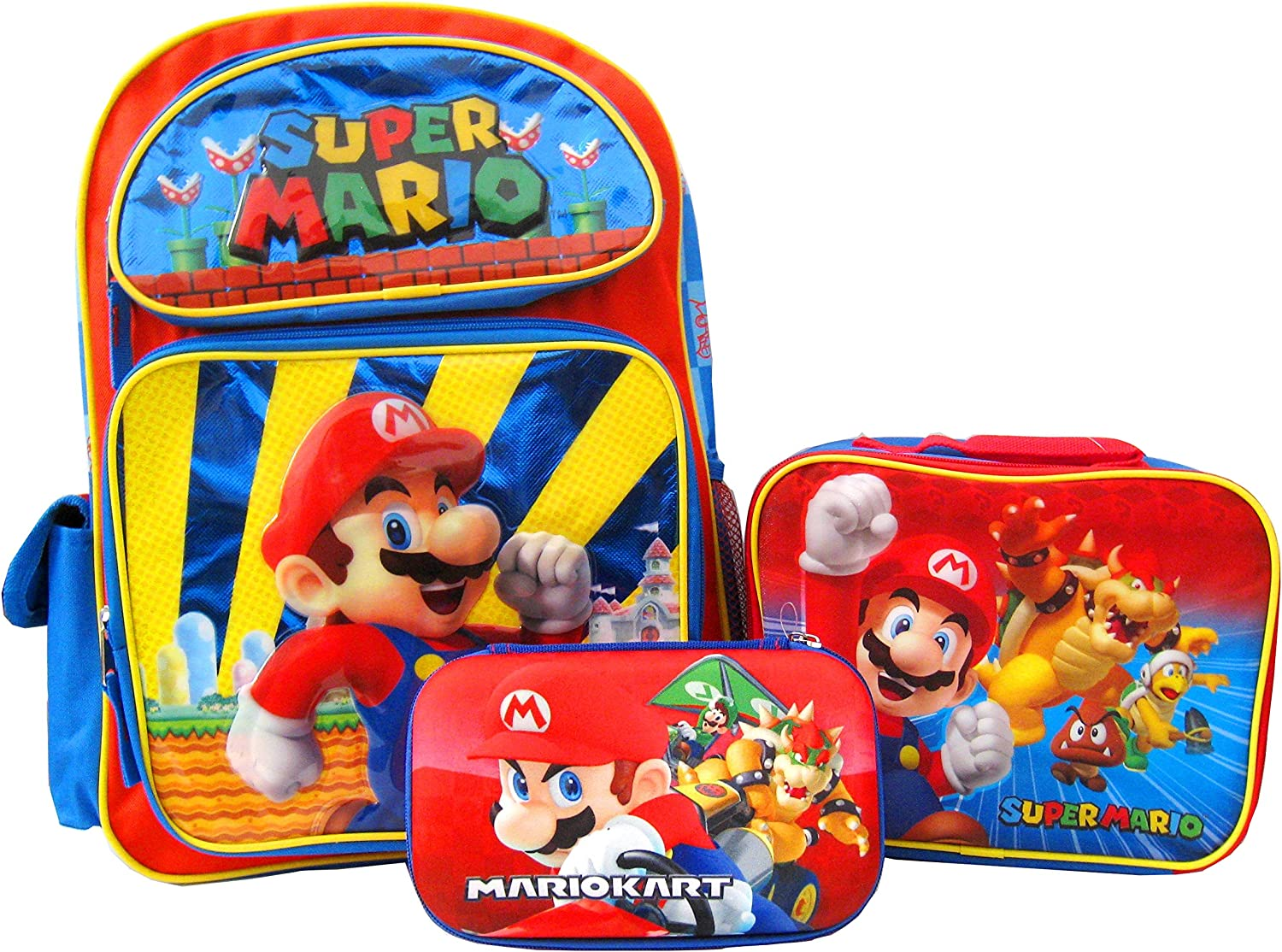 Mario 16 inch Backpack and Lunch Box with Pencil Pouch Set