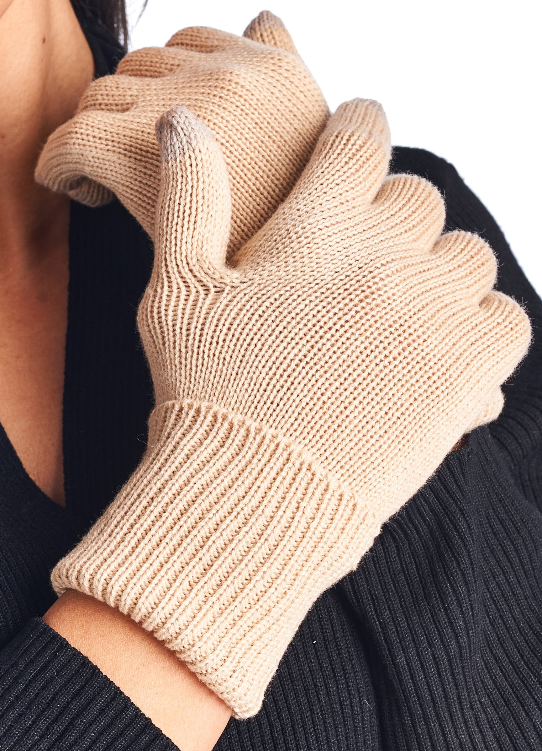 High Style Unisex All Fingers Texting Touchscreen Merino Wool Cashmere Smart Gloves (W001, S/M, 04-Beige)